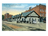 Corning, New York - New Erie Train Station and St. James Hotel View Prints by  Lantern Press