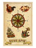 Tattoo Flash Sheet - Sailors Poster autor Lantern Press