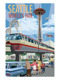 Space Needle Opening Day Scene - Seattle, WA Print by  Lantern Press
