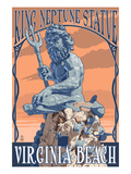 Virginia Beach, Virginia - King Neptune Statue Poster by  Lantern Press
