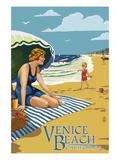 Venice Beach, California - Woman on the Beach Prints by  Lantern Press