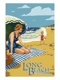 Long Beach, California - Woman on the Beach Posters by Lantern Press
