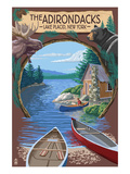 The Adirondacks - Lake Placid, New York State - Montage Art by  Lantern Press