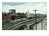 Watertown, New York - New York Central and Hudson River Rail Station Sheds Print by  Lantern Press