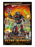 Portland, Oregon vs. The Astro-Invaders Premium Giclee Print by  Lantern Press