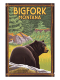 Bigfork, Montana - Bear in Forest Prints by Lantern Press 