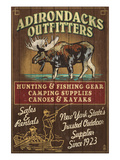 The Adirondacks, New York State - Outfitters Moose Prints by  Lantern Press