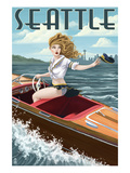 Boating Pinup Girl - Seattle, WA Prints by  Lantern Press