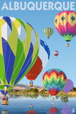 Hot Air Balloons - Albuquerque, New Mexico Print by Lantern Press