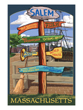 Salem, Massachusetts - Sign Destinations Art by  Lantern Press