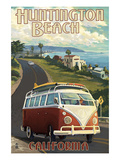Huntington Beach, California - VW Van Cruise Art by  Lantern Press