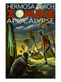 Hermosa Beach, California - Zombie Apocalypse Print by  Lantern Press