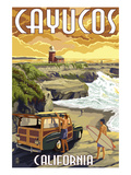Cayucos, California - Woody and Lighthouse Prints by  Lantern Press