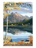 Long's Peak und Bear Lake - Rocky Mountain National Park Poster von  Lantern Press