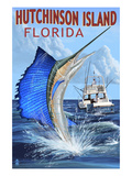Hutchinson Island , Florida - Sailfish Fishing Scene Print by  Lantern Press