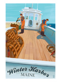 Winter Harbor, Maine - Lobster Boat Scene Prints by Lantern Press