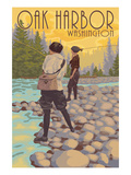 Women Fly Fishing - Oak Harbor, Washington Print by Lantern Press 