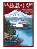 Bellingham, Washington - Ferry Scene Posters by  Lantern Press