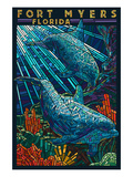 Fort Myers, Florida - Dolphins Paper Mosaic Print by  Lantern Press