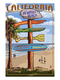 Newport Beach, California - Destination Sign Prints by  Lantern Press