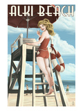 Lifeguard Pinup Girl - Alki Beach - Seattle, WA Print by  Lantern Press