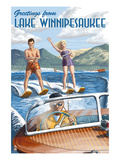 Lake Winnipesaukee, New Hampshire - Water Skiing Scene Art par Lantern Press 