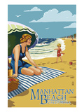 Manhattan Beach, California - Woman on the Beach Prints by  Lantern Press