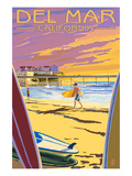 Del Mar, California - Beach Surfers and Pier Poster by Lantern Press