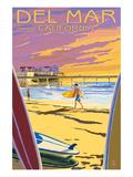 Del Mar, California - Beach Surfers and Pier Poster by  Lantern Press