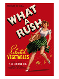 What a Rush - Vegetable Crate Label Print by  Lantern Press