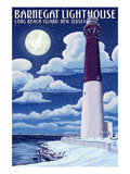 Barnegat Lighthouse - Snow Scene - New Jersey Shore Posters by  Lantern Press