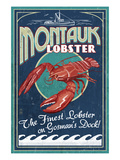 Montauk, New York - Lobster Plakat af Lantern Press