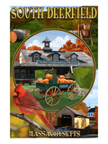 South Deerfield, Massachusetts - Montage Scenes Prints by  Lantern Press