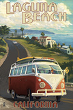 Laguna Beach, California - VW Van Cruise Print by  Lantern Press