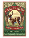 Lake Geneva, Wisconsin - Deer Pale Ale Poster by  Lantern Press