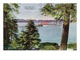 Lake Tahoe, California - Tahoe Tavern View of Lake and Tahoe Steamer Kunstdrucke von  Lantern Press