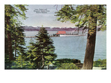 Lake Tahoe, California - Tahoe Tavern View of Lake and Tahoe Steamer Art by  Lantern Press