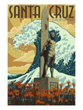 Santa Cruz, California - Surfer Statue Posters by  Lantern Press