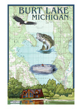 Burt Lake, Michigan - Nautical Chart Posters by  Lantern Press
