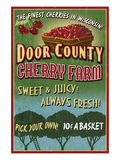 Door County, Wisconsin - Cherry Prints by  Lantern Press
