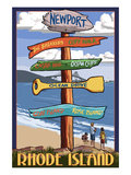 Newport, Rhode Island - Sign Destinations Prints by  Lantern Press