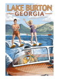 Lake Burton, Georgia - Water Skiing Scene Print by  Lantern Press