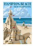 Hampton Beach, New Hampshire - Sand Castle Giclée-Premiumdruck von  Lantern Press