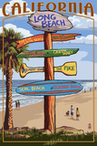 Long Beach, California - Destination Sign Prints by  Lantern Press