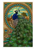 Peacock - Art Nouveau Kunstdruck von  Lantern Press