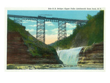 Letchworth State Park, New York - View of Erie Railroad Train on Bridge by Upper Falls Prints by  Lantern Press