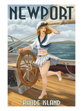 Newport, Rhode Island - Pinup Girl Sailing Poster von  Lantern Press