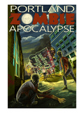 Portland, Oregon - Zombie Apocalypse Print by  Lantern Press