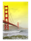 San Francisco, California - Golden Gate Bridge Yellow Sky Prints by  Lantern Press