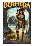 Bermuda - Pirate Pinup Girl Prints by  Lantern Press